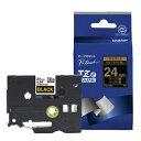 TZe-354 ブラザー P-Touch用・ラミネートテープ 黒/金文字 24mm