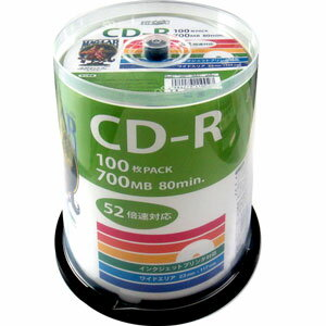 HDCR80GP100 HIDISC データ用700MB 52倍速対応CD-R 100枚パック ホワイトプリンタブル ハイディスク [HDCR80GP100]【返品種別A】