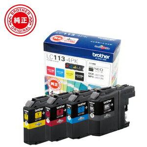 LC113-4PK ブラザー 純正インクカートリッジ お徳用4色パック LC113BK、LC113C、LC113M、LC113Y