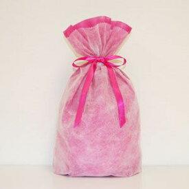 不織布リボン巾着袋 Lサイズ(ピンク) シモジマ