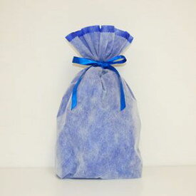 不織布リボン巾着袋 Lサイズ(ブルー) シモジマ