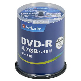 DHR47JP100V4 バーベイタム データ用16倍速対応DVD-R 100枚パック 4.7GB ホワイトプリンタブル Verbatim