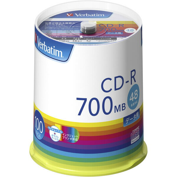 SR80FP100V1E バーベイタム データ用48倍速対応CD-R 100枚パック700MB ホワイトプリンタブル Verbatim [SR80FP100V1E]【返品種別A】