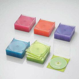 CCD-JSCS50ASO エレコム Blu-ray/DVD/CDケース 50枚セット(スリム/PS/1枚収納・5色アソート)