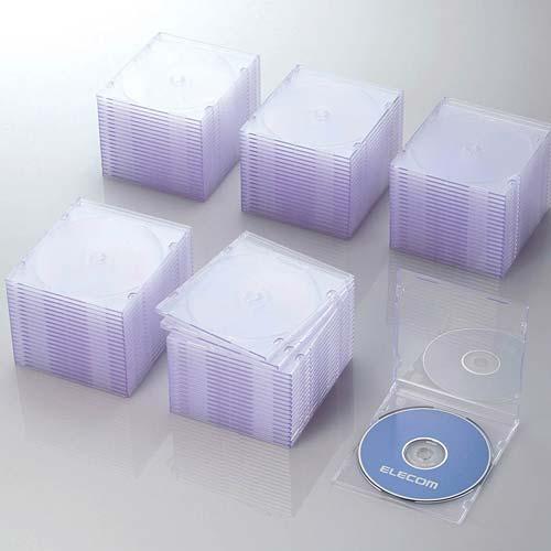 CCD-JSCS100CR エレコム Blu-ray/DVD/CDケース 100枚セット(スリム/PS/1枚収納・クリア) [CCDJSCS100CR]【返品種別A】