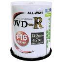 ACPR16X100PW リーダーメディアテクノ 16倍速対応DVD-R 100枚パック4.7GB ホワイトプリンタブル ALL-WAYS