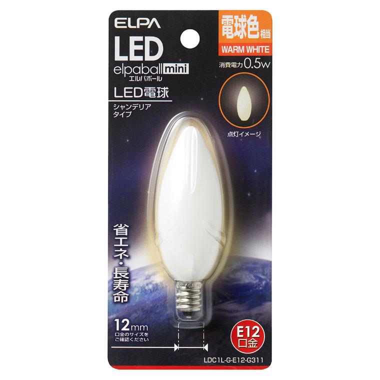 LDC1L-G-E12-G311 ELPA LEDシャンデリア球(電球色相当) [LDC1LGE12G311]【返品種別A】