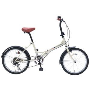 M-209 マイパラス 折りたたみ自転車 20インチ 6段変速(アイボリー) MYPALLAS [M209アイボリ]【返品種別B】