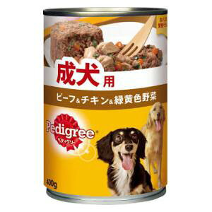 ペディグリー 成犬用 ビーフ&チキン&緑黄色野菜(缶)400g マースジャパンリミテッド P122PEDカンB&C&V400G