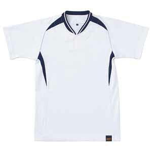 Z-BOT740JA-1129-130 ゼット 野球・ソフトボール用 少年用ベースボールシャツ(ホワイト/ネイビー 130) ZETT 1ボタンタイプ