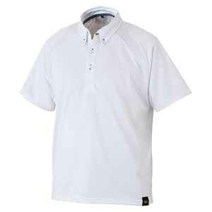 Z-BOT81-1100-L ゼット 野球・ソフトボール用 ベースボールシャツ(ホワイト L) ZETT ボタンダウンポロシャツ(胸ポケット無し)