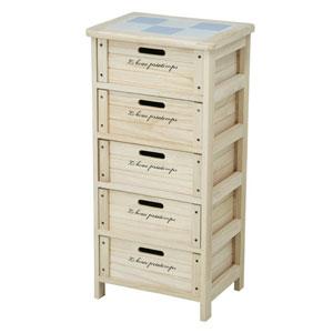 68095 不二貿易 木製5段ボックス(ナチュラル) HF05-004(N)