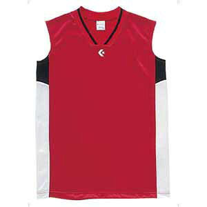 CB64701-6411-160 コンバース ジュニア用(ガールズ)ゲームシャツ(レッド/ホワイト・160) CONVERSE