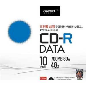 TYCR80YP10SC HIDISC データ用700MB 48倍速対応CD-R 10枚パック ワイドプリンタブル [TYCR80YP10SC]【返品種別A】