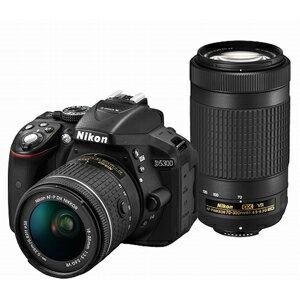 D5300WZ3 ニコン デジタル一眼レフカメラ「D5300」AF-P ダブルズームキット(ブラック) [D5300WZ3]【返品種別A】