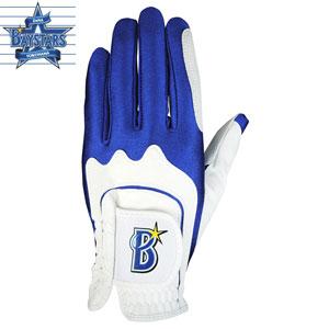 YBGL-7657BL/WH レザックス 横浜DeNAベイスターズ ゴルフグローブ 左手用(ホワイト×ブルー・フリーサイズ/22〜25cm) [YBGL7657BLWH]【返品種別A】