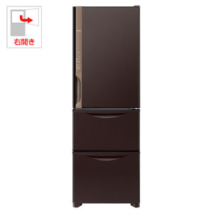 R-K380HV-TD 日立 375L 3ドア冷蔵庫(ダークブラウン)【右開き】 HITACHI まんなか野菜タイプ [RK380HVTD]【返品種別A】(標準設置料込)