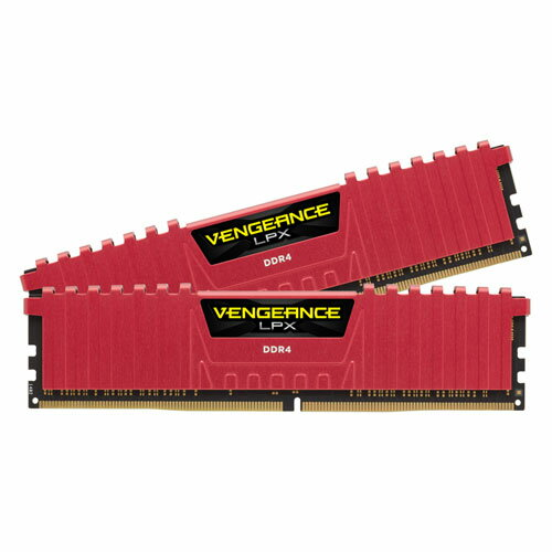 CMK16GX4M2A2666C16R コルセア PC4-21300 (DDR4-2666)288pin DDR4 DIMM 16GB(8GB×2枚) CORSAIR Vengeance LPX 16GB (2x8GB) DDR4 DRAM 2666MHz C16 Memory Kit-Red [CMK16GX4M2A2666C16R]【返品種別B】