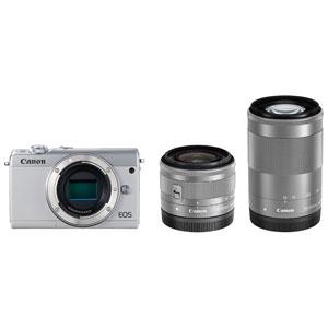 EOSM100WH-WZK キヤノン ミラーレスカメラ「EOS M100」ダブルズームキット(ホワイト) [EOSM100WHWZK]【返品種別A】