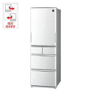 SJ-P411D-H シャープ 412L 5ドア冷蔵庫(グレー系) SHARP プラズマクラスター冷蔵庫 どっちもドア [SJP411DH]【返品種別A】(標準設置料込)