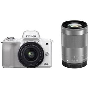 EOSKISSMWH-WZK キヤノン ミラーレス一眼カメラ「EOS Kiss M」ダブルズームキット(ホワイト) Canon