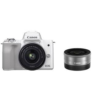 EOSKISSMWH-WLK キヤノン ミラーレス一眼カメラ「EOS Kiss M」ダブルレンズキット(ホワイト) Canon