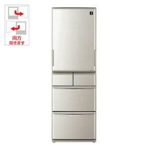 (標準設置料込)SJ-W412D-S シャープ 412L 5ドア冷蔵庫(シルバー系) SHARP プラズマクラスター冷蔵庫 どっちもドア [SJW412DS]【返品種別A】