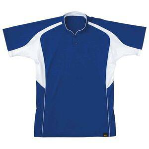 Z-BOT730A-2511-SS ゼット ベースボールシャツ(立襟2つボタン)(Rブルー/ホワイト・サイズ:SS) ベースボールシャツ(立襟2つボタン)