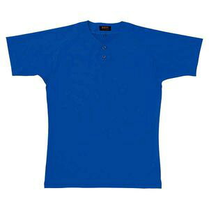 Z-BOT520A-2700-3XO ゼット ベースボールシャツ(2つボタン)(マリンブルー・サイズ:3XO) ベースボールシャツ(2つボタン)