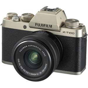 FX-T100LKG 富士フイルム ミラーレス一眼カメラ「FUJIFILM X-T100」レンズキット(シャンパンゴールド)