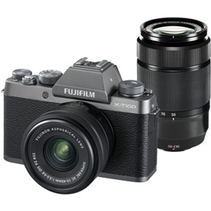 FX-T100WZLKDS【税込】 富士フイルム ミラーレス一眼カメラ「FUJIFILM X-T100」ダブルズームレンズキット(ダークシルバー)