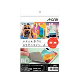 29471 エーワン 手作りスマホスキンシール A5判 iPhone 7plus(6plus)用 印刷用フィルムラベル 保護フィルム A-one