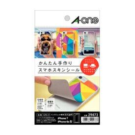 29473 エーワン 手作りスマホスキンシール はがきサイズ iPhone7(iPhone6s/6) 用 印刷用フィルムラベル 保護フィルム A-one