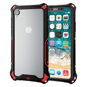 PM-A18CZEROBRD エレコム iPhone XR用 ZEROSHOCK バンパー(レッド)