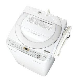 (標準設置料込)ES-GE7C-W シャープ 7.0kg 全自動洗濯機 ホワイト系 SHARP 穴なし槽