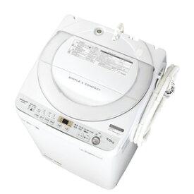 【最大1000円OFF■当店限定クーポン 11/20迄】(標準設置料込)ES-GE7C-W シャープ 7.0kg 全自動洗濯機 ホワイト系 SHARP 穴なし槽