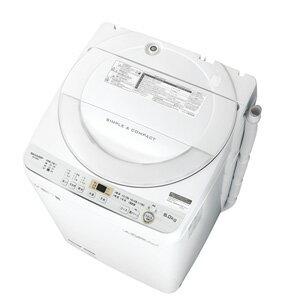 (標準設置料込)ES-GE6C-W シャープ 6.0kg 全自動洗濯機 ホワイト系 SHARP 穴なし槽