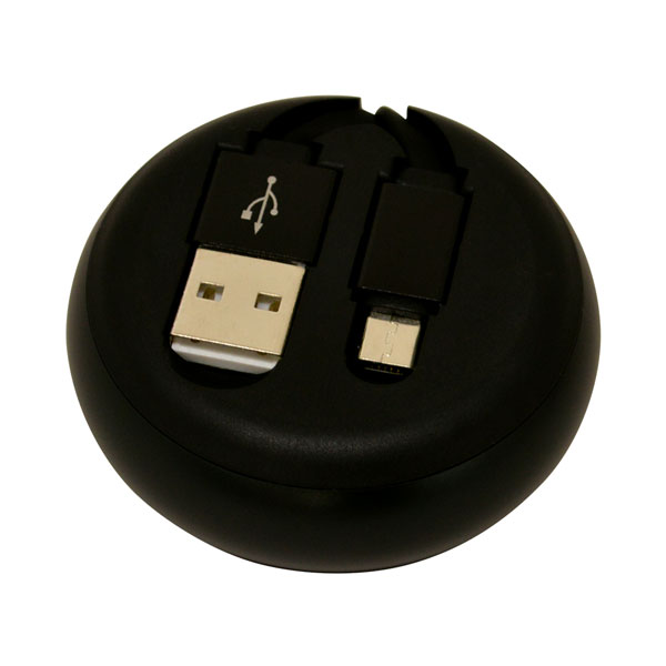 R08CAM2AR01BK ラスタバナナ microUSBコネクタ搭載 巻き取り式充電&転送ケーブル 80cm(ブラック×ブラック)