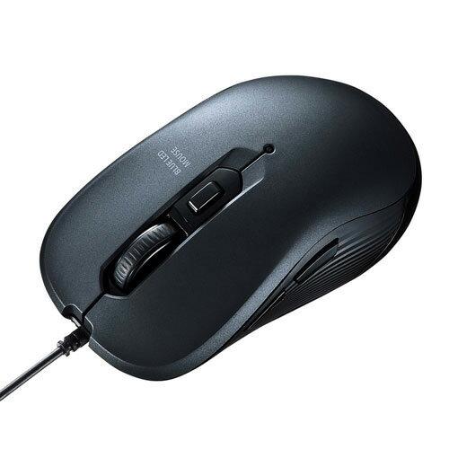 MA-BL114GM サンワサプライ 有線 ブルーLEDマウス 5ボタン(ガンメタ)