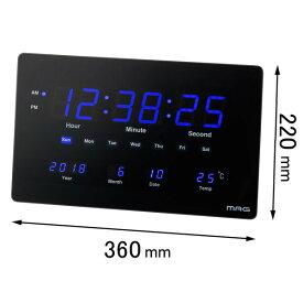 W-724 BK ノア精密 置き掛け兼用時計 NOA MAG 大型LED掛け時計 デジブルー [W724BK]【返品種別A】