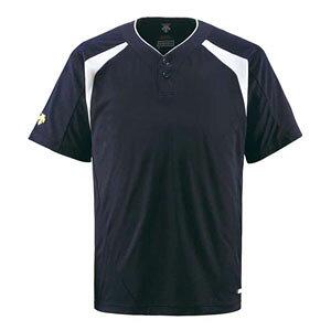 DS-DB205-DNVY-O デサント ベースボールシャツ(DNVY・サイズ:O) DESCENTE ベースボールシャツ(2ボタン) コンビネーション