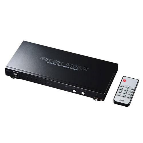 SW-UHD62 サンワサプライ HDMI切替器(6入力・2出力・マトリックス切替機能付き)
