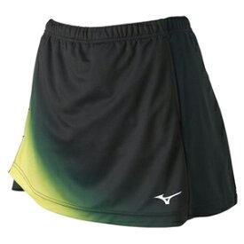 82JB920693XL ミズノ 卓球用ゲームスカート(レディース)(ブラック×ライムグリーン・サイズ:XL) mizuno