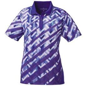 GOS-T1815-75-M ゴーセン レディース ゲームシャツ(パープル・サイズ:M) GOSEN テニス・バドミントン用シャツ