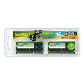 SP016GLSTU160N22 シリコンパワー PC3L-12800(DDR3L-1600)204pin DDR3 SDRAM S.O.DIMM 16GB(8GB×2枚)