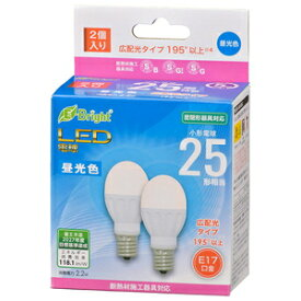 LDA2D-G-E17IH222P オーム LED電球 小形電球形 260lm (昼光色相当) 【2個セット】 OHM [LDA2DGE17IH222P]