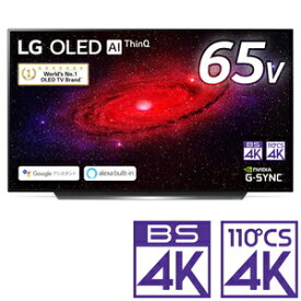 (標準設置料込_Aエリアのみ)OLED65CXPJA LGエレクトロニクス 65型 有機ELパネル 地上・BS・110度CSデジタル4Kチューナー内蔵テレビ (別売USB HDD録画対応)