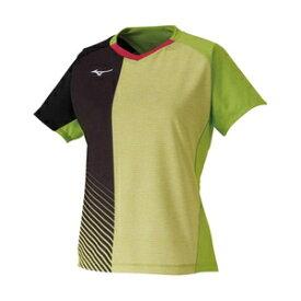 82JA021137XL ミズノ 卓球用ゲームシャツ(レディーズ)(ライムグリーン・サイズ:XL) MIZUNO 2020卓球女子日本代表モデル