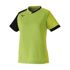 82JA020337XL ミズノ 卓球用ゲームシャツ(レディーズ)(ライムグリーン×ブラック・サイズ:XL) MIZUNO