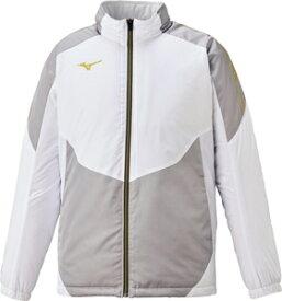 32ME063001L ミズノ ブレスサーモ中綿ジャケット(ホワイト×ゴールド・サイズ:L) mizuno ユニセックス